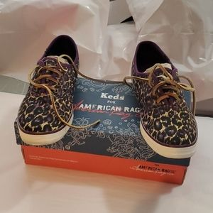 KEDS BY AMERICAN RAG PURPLE LEOPARD 8.5 NEW